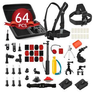 GoPro-Hero-64Pcs-Pack-Accessories-Pack-Case-Head-Chest-Monopod-Bike-Surf-Mount
