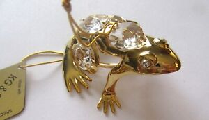Figurine-FROG-24K-gold-plated-Austrian-crystals-clear