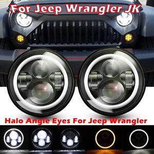 Pair-7-INCH-280W-LED-Headlights-Halo-Angle-Eye-For-Jeep-Wrangler-CJ-JK-LJ-97-18