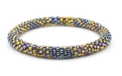 Sashka-Co-EXTENDED-8-10-034-SOHO-Glass-Beaded-BRACELET-gold-iridescent-silver-Nepal