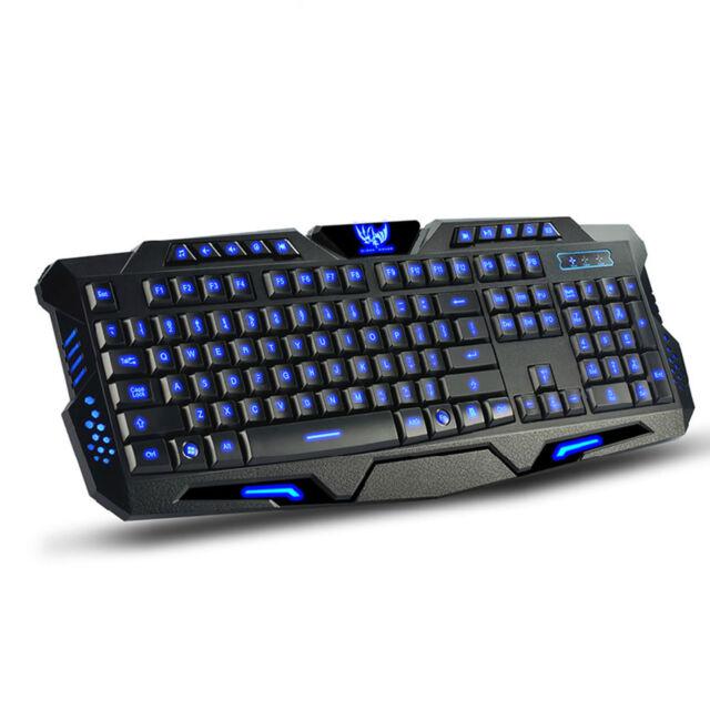 PC Laptop Ergonomic 3 Colors LED Backlight Illuminated USB Gaming Keyboard