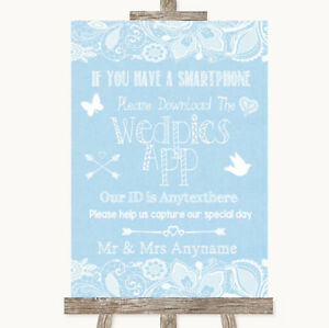 Wedding Sign Poster Print Blue Burlap Lace Wedpics App Photos Ebay