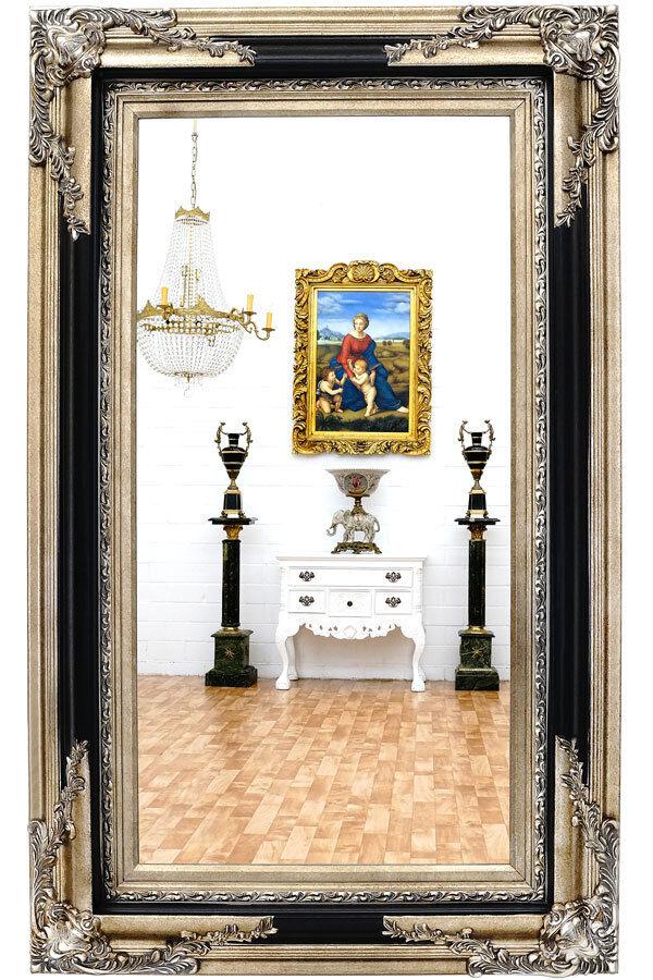 SALON WANDSPIEGEL SILBER-SCHWARZ ca.152cm EDEL HOLZ RAHMEN WANDSPIEGEL piekfein