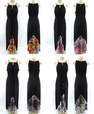 Cato Womens Black Empire Waist Sleeveless Keyhole Maxi Dress Plus