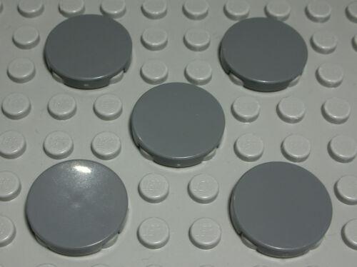 Lego Tile-Tile Round 2x2 New Dark Grey 5 Piece 1341 #
