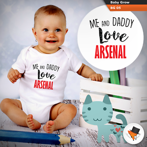 ME AND DADDY LOVE ARSENAL BABY GROWS SUIT boys bodysuit GUNNERS GOONERS VEST