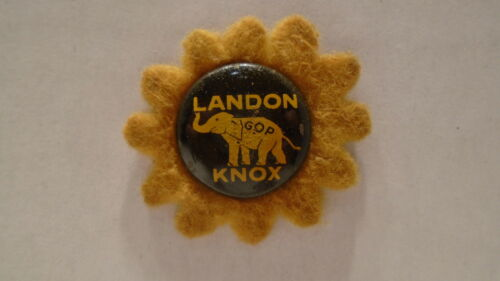 "1936 Political 34"" Pinback Button Landon Knox"