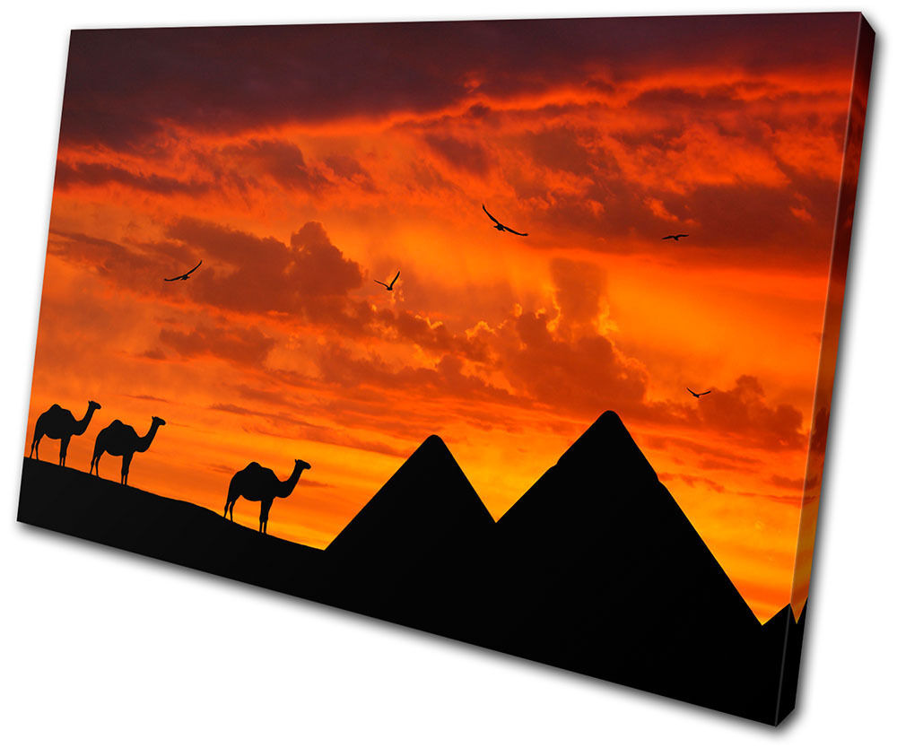 Sunset Seascape Egypt Pyramids SINGLE TELA parete arte foto stampa
