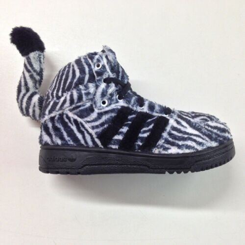 Adidas X Jeremy Scott Zebra 1 w// Tail Black White Toddler Sneaker G95762 1702-58