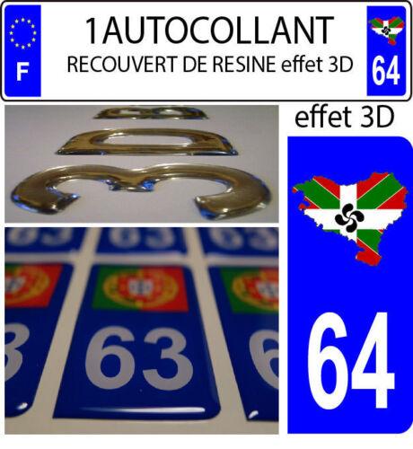 1 sticker plaque immatriculation auto 3D RESINE DRAPEAU PAYS BASQUE Euskadi 64