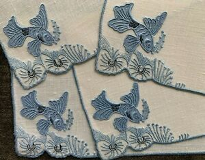 4-Vintage-Cocktail-Napkins-MARGHAB-MADEIRA-Embroidery-TROPICAL-FISH-Pattern-Blue
