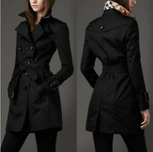 Womens-Black-Double-Breasted-Trench-Coat-Lightweight-Rain-Jacket-Belted