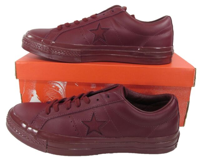 Converse One Star 74 Ox Lo Low Top MONO Bordeaux Burgundy Red LEATHER  155715C cd319004a