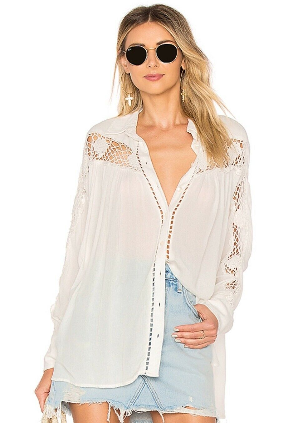 NWT Free People Katie Bird Crochet Inset Shirt Top Blouse Ivory XS S