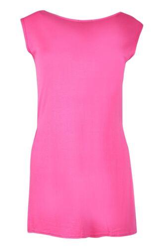 Women Sleeveless High Side Split Slit Tunic Jersey Ladies Long Vest Tee Top