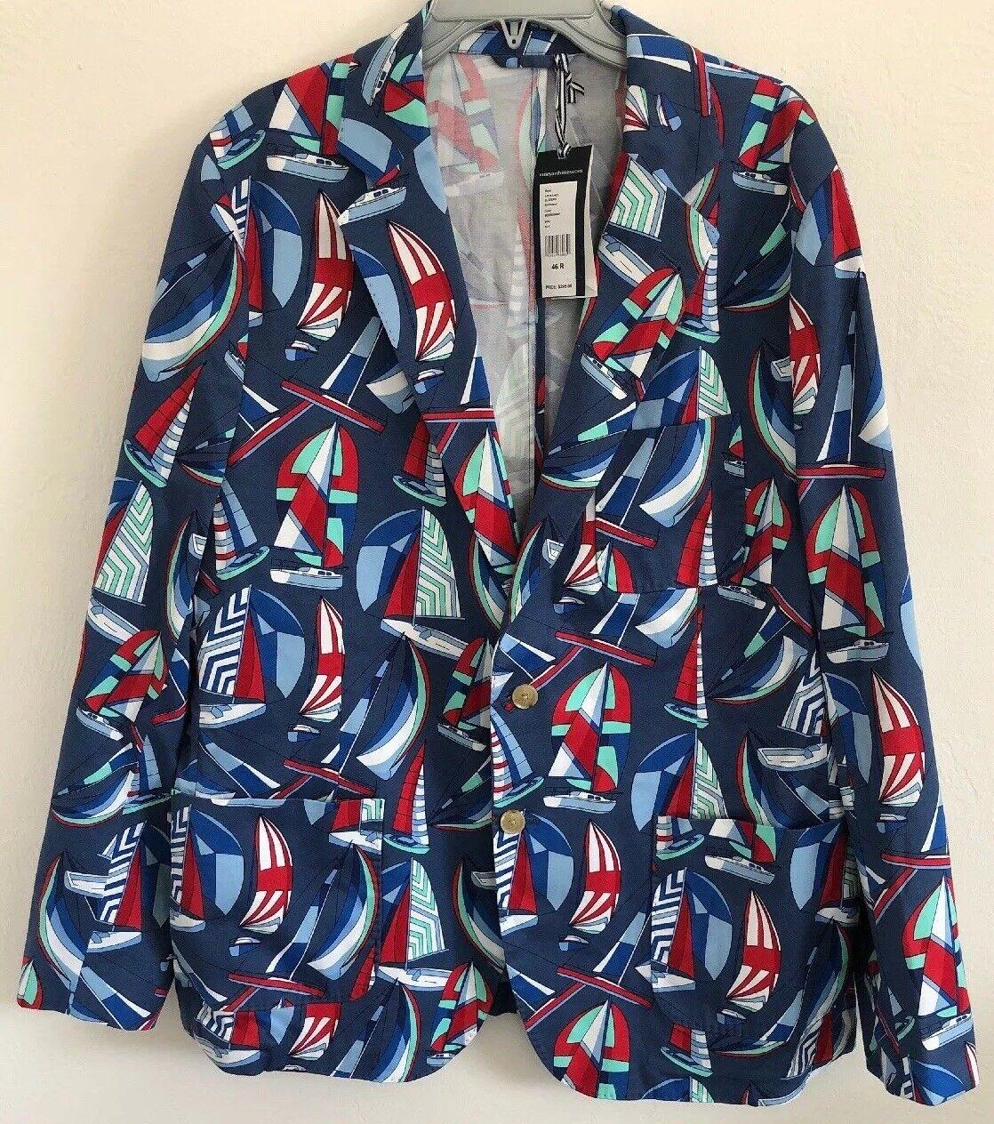 Vineyard Vines Sailboat Nautical Sport Coat Blazer Moonshine Size 46R NWT