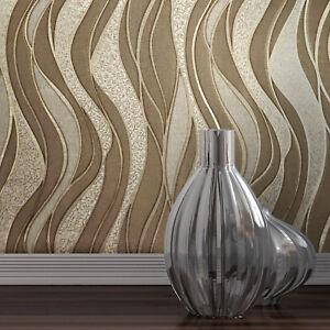 Modern-textured-Wave-lines-brown-Gold-Metallic-Wallpaper-embossed-damask-roll-3D