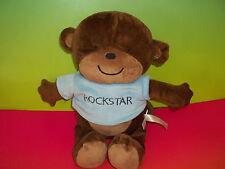 "Carters 14"" Brown Monkey Ape  ROCKSTAR Plush Toy Lovey Stuffed Animal 2012  GUC"