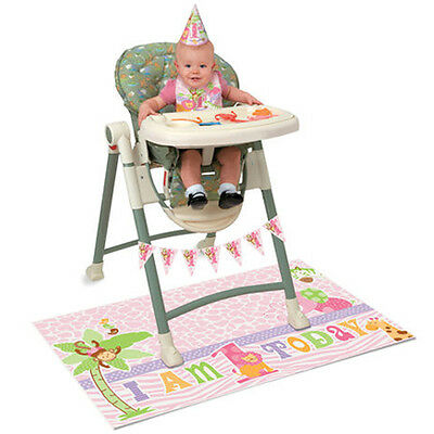 1st BIRTHDAY Pink Safari HIGH CHAIR DECORATING KIT ~ Party Supplies Banner