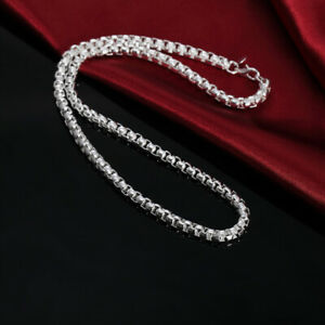 Solid-silver-925-chain-heavy-men-women-necklace-Jewelry-fashion-wedding-N053