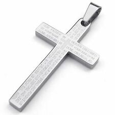 MENDINO Men's Stainless Steel Pendant Necklace Cross Bible Lords Prayer Silver