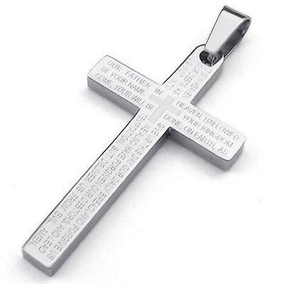 MENDINO 316L Edelstahl Anhänger Halskette Kreuz Bibel Lord Prayer Poliert Silber