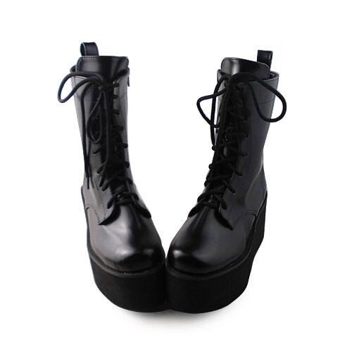 NEU schwarz punk damen-stiefel Schuhe Stiefeletten Plateau ankle Stiefel Mori Girl