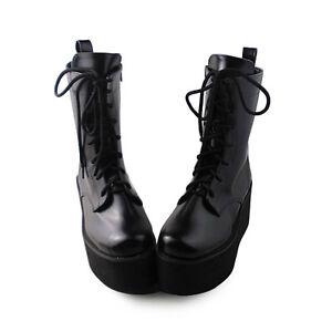 Neu Schwarz Punk Damen Stiefel Schuhe Stiefeletten Plateau Ankle