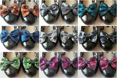 Par De Satén Negro De Encaje Floral De Zapatos Clips Glamour Arcos 50svintage 80s Retro Estilo