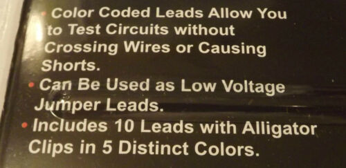 10 Pc Test Lead Set/_ Insulated Alligator Clips/_Color Coded 26110