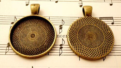 Configuración de bronce 25 mm Collar Colgante de estilo vintage 5 joyas suministros