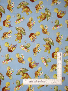 Friendly-Greetings-Turtle-Toss-Blue-Tonal-Cotton-Fabric-VIP-Fabric-By-The-Yard