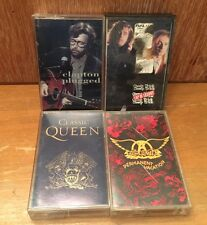 Classic Rock ~4~ CASSETTE Lot Clapton Cheap Trick Queen Aerosmith