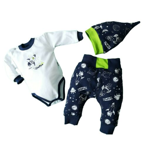 Hat 0-3//3-6//6-9//9-12//12-18 Months Baby Infant Boys 3Pcs Set Bodysuit Trousers