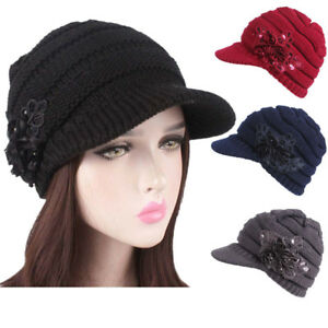 37164a35b25ba Ladies Womens Girls Wool Blend Baker Boy Peaked Cap Knitting Beret ...