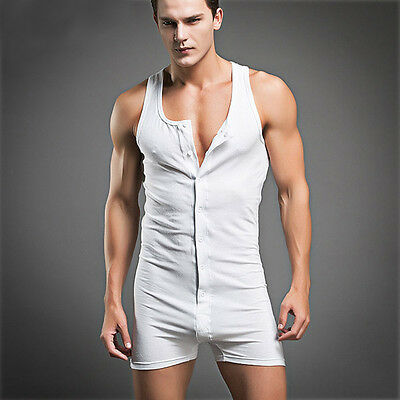 Men's Sexy Sleeping Wear Cotton Pajama Underwear Sleeveless Vest Onesies