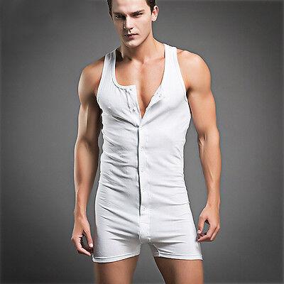 Men's Sexy Sleeping Wear Cotton Pajama Underwear Sleeveless Vest Bodysuit White