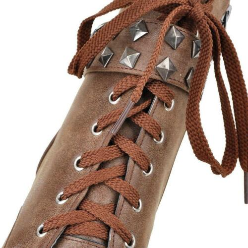 Womens Zip Ankle Lace up Boots Platform Synthetic Leather Block Heels Shoes D
