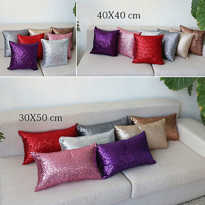 Solid Glitter Sequins Pillow Case Lounge Cafe Decor Cushion Cover Home Decor New