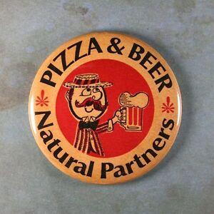 """Vintage Beer Advertising Sign Fridge Magnet 2 1//4/"""" Pizza Beer Natural Partners"""