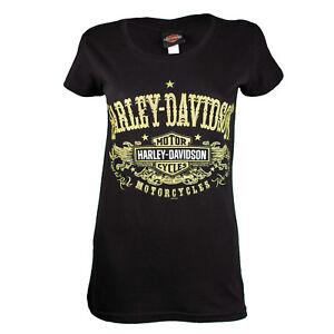 Sturgis-Harley-Davidson-Women-039-s-After-Gold-Black-T-Shirt