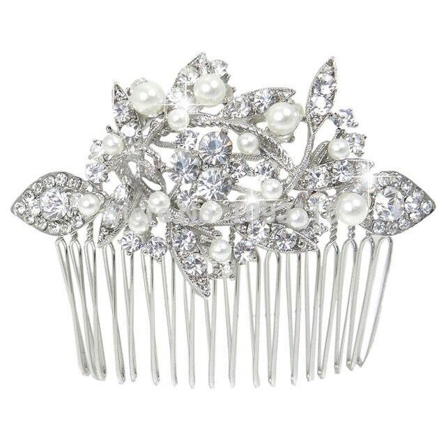 Bridesmaid Bridal Wedding Silver Simulated Pearl Austrian Crystal Hair Comb