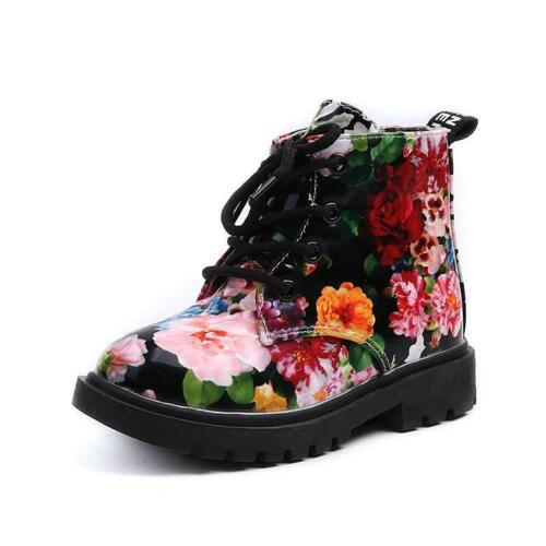 Girls Casual Martins Shoes Toddler Kids Floral Shoes Lace Up PU Leather Boot JA