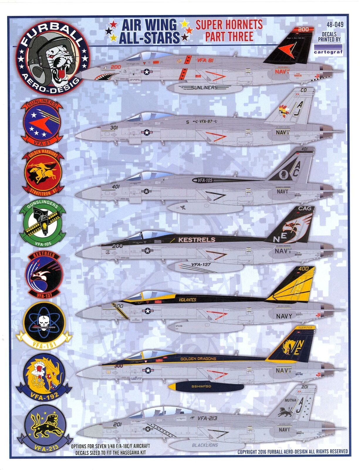 150K Air decals N° 7 Aircraft USA Insigne 1:48