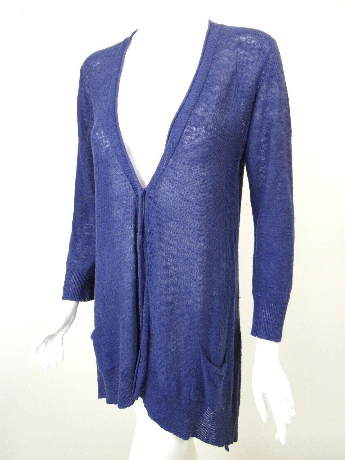 EILEEN FISHER Indigo bluee Linen Knit Boxy Asymmetric Hem Cardigan Sweater sz XS