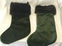 Christmas Stockings 21 Xl Lot Of 2 Wide Brown Green Faux Fur Decor Two Set