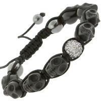 Skull Bracelet With Rhinestones Beads Adjustable