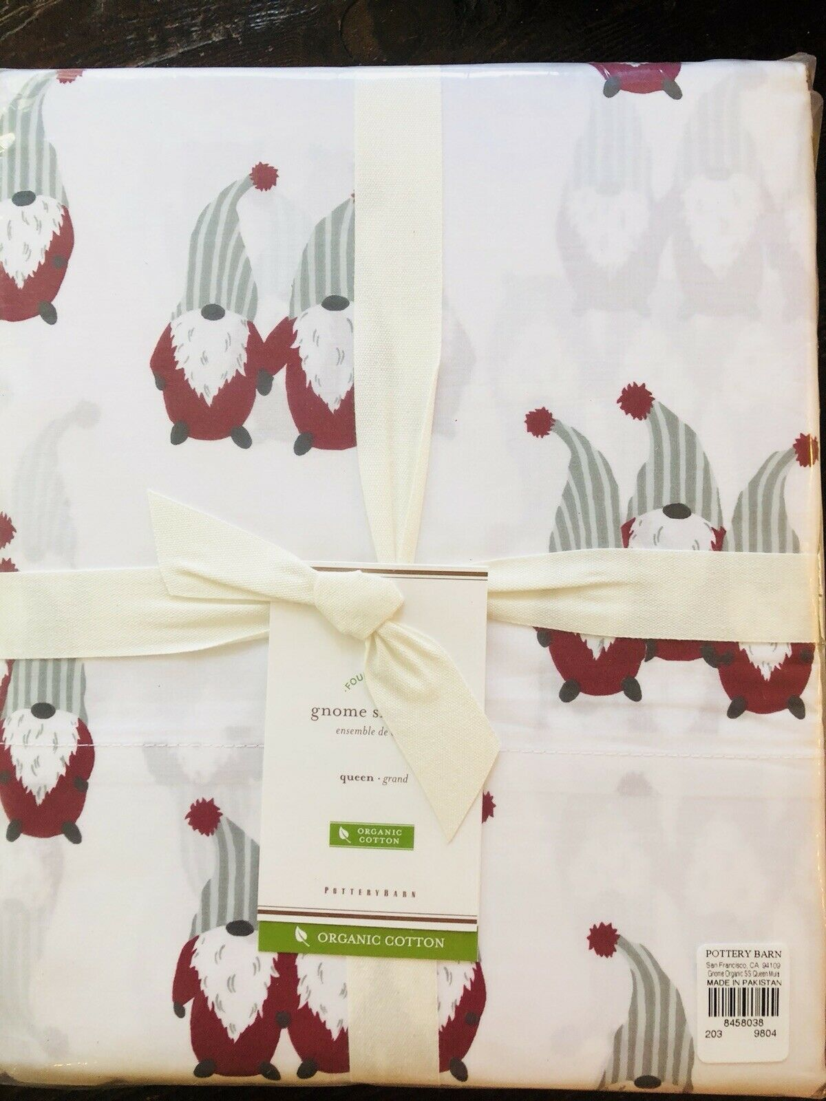 Pottery Barn Gnome Organic Queen Größe Sheet Set Holiday Christmas Bedding New