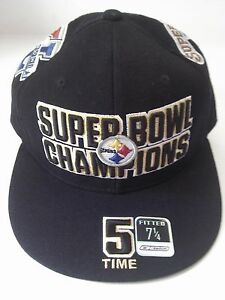 Pittsburgh-Steelers-Reebok-5-Time-Super-Bowl-Champs-Fitted-Size-7-1-4-Cap-Bell
