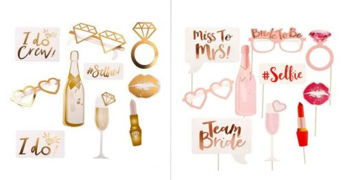 10 Pcs Wedding Bachelorette Photo Booth Props Rose Gold m Bride Hen Party Set